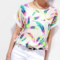 1PC Women Feathers Chiffon Blouse Casual Short Sleeve Loose T-Shirt Print Top