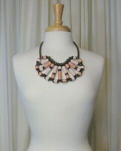 Pono by Joan Goodman Statement Necklace Plastic Salmon Copper Bronze Tone Collar