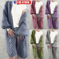 Womens Long Sleeve Knitted Cardigan Sweater Warm Thick Open Front Outwear Coat