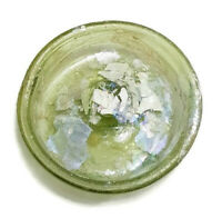 Round Roman Glass Ancient Fragment 200 B.C Archaeological With Patina