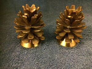 Vintage Lot of 2  Vintage Brass Pine Cone Candle Holders made in INDIA