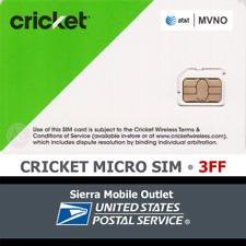 Cricket Wireless Micro 3Ff Sim Card • Gsm 4Glte • New • At&T Network Mvno