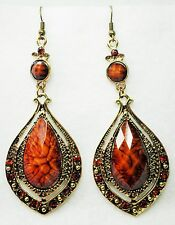 """Long Gold Tone & Brown Faceted Plastic Drop Earrings on Hooks   9.25cm  (3.1/2"""")"""