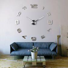 3D Design Wanduhr Deko Spiegel Edelstahl Uhr Wandtattoo Wand Uhr Groß XXL XL C3