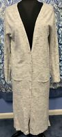 NEW PIXLEY L Large Long Gray Long Sleeve Thin Cardigan Sweater NWOT STAIN