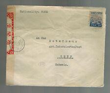 WW 2 Japan Censored cover to Red Cross Switzerland German Kaihin Hotel Kamakura