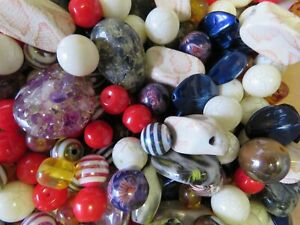 30 Beads Purple & Red Marble Effected Big Large Chunky Assorted Sizes & Colours