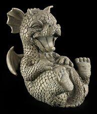 Garten Figur - Drache lacht sich kaputt - Lustiges Drachenkind Gartendeko Statue