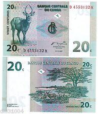 CONGO AFRIQUE BILLET 20 CENTIMES 1997 P83 ANTILOPE NEUF