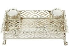 Antique George V Sterling Silver Gallery Inkstand