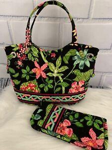 Vera Bradley Sherry Mini Tote Bag & Eyeglass Case Set Botanica Black Floral