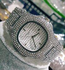 Bling Bling Full Faux Diamond Block Face Silver  HipHop Bling Mens Watch