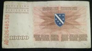 BOSNIA 10000 Dinara - War Paper Banknote 1993