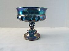 KING'S CROWN FENTON BLUE CARNIVAL GLASS PEDESTAL COMPOTE CANDY DISH