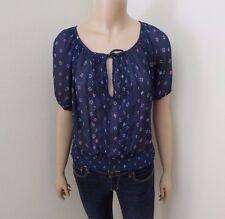 Hollister Women Floral Sheer Peasant Top Size XS Shirt Navy Blue