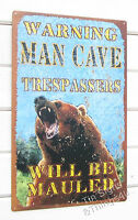 Warning Man Cave Bear No Trespassing TIN SIGN cabin bar metal poster decor OHW