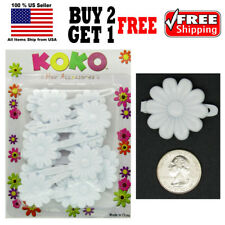Girls Kids White Daisy Flower Hair Barrette Snap Clips Holder Accessories