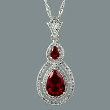 Pear Cut 18K White Gold Plated Cubic Zirconia Red Ruby Pendant Free Chain