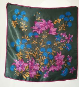 St Michael 1960's/1970's Green Pink Blue Floral Rayon Satin Vintage Scarf