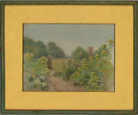 Framed Mid 20th Century Watercolour - Garden Path with a Folly