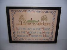 Antique 1939 Cross Stitch Needlepoint Framed Sampler