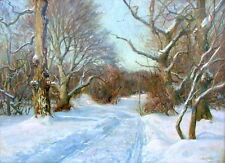 HARALD PRYN 1891-1968 DENMARK SNOW TRACK IN ROAD LANDSCAPE SALES TO $25,000