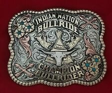 VINTAGE RODEO TROPHY BELT BUCKLE~ INDIAN NATION BULL RIDING CHAMPION 151