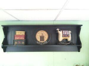 """Plate Rack Bowed Wall Shelf Black 52"""" Double Shelf"""