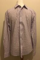 Ted Baker Mens Shirt Pink Purple Stripe Shirt Size 6 - 2XL