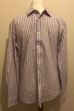 Ted Baker Mens Shirt Pink Purple Stripe Shirt Size 6 - 2XL