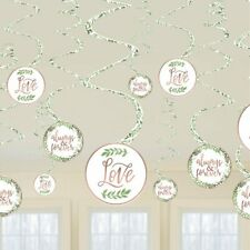 LOVE & LEAVES FLORAL GREENERY SWIRLS PARTY HANGING DECORATIONS BRIDAL ENGAGEMENT