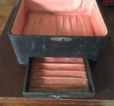 "Antique Black Jewelry Trinket Box Case w/ Drawer Vintage Item 9"" x 7"" x 5"""