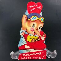 Vtg Valentines Card 40s 50s Elephant Aircraft Pilot USA Airplane Flying airplane