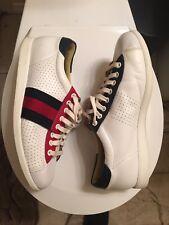 Gucci Men's Athletic White Leather Striped 192713 Sz 7.5 G Ace Belt