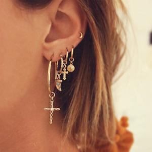 5Pcs Boho Simple Circle Small Hoop Earring Set Unisex Punk Earrings Jewelry Gift