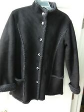 L L Bean Womens Black Micro Suede Shearling Jacket Size M