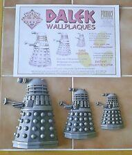 Dr Doctor Who Set of 3 DALEK WALLPLAQUES Product Enterprise Ltd 1999 - VERY RARE