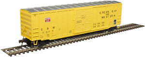 """Atlas HO Scale ACF 50'6"""" Box Car Green Bay & Western/GBW (Yellow/Red) #7038"""