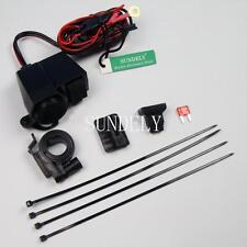 Motorcycle Waterproof Cigarette Lighter 12V USB Power Port Outlet Socket Black