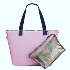 Ideology Womens Mesh Faux Trim Tote With Pouch Pinkmulti Handbag