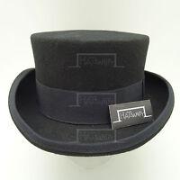 Wool Felt Topper Top Hat Men Tuxedo Short | 57cm | Black | VINTAGE x FORMAL