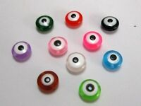 100 Mixed Colour Acrylic Kabbalah Evil Eye Coin Beads 11X5mm