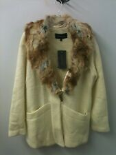 Luxe By Irina L Faux Fur Collar, NWT Ivory Coat Jacket Pockets