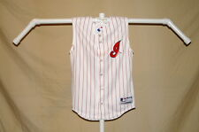 CLEVELAND INDIANS sleeveless Pinstriped JERSEY  by Majestic  Youth Medium   NwT