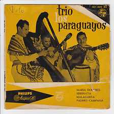"TRIO LOS PARAGUAYOS Vinyle 45T EP 7"" MARIA DOLORES - PHILIPS 421 400 Languette"