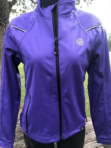 Ms CANARI Cycling JACKET Bright PURPLE Reflective & Zip Pockets Sz SM