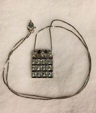 Estate Vintage Sterling Silver CZ Checkerboard Square Fashion Pendant Necklace
