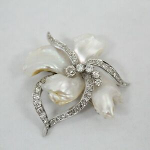 William Ruser Signed Platinum w/ Pearl & 44 2mm - 4mm Diamonds Flower Brooch Pin
