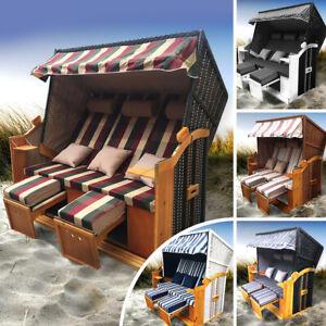 Strandkorb Ostsee 3-Sitzer Volllieger Gartenliege Sonneninsel Poly-Rattan XXL