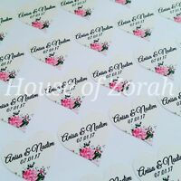 Personalised Heart Shape Floral Vintage Wedding Party Thank You Stickers Lables
